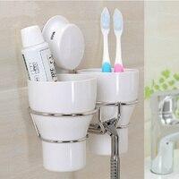 De alta calidad de pared cepillo de dientes titular de ajuste con 2 Taza de cepillo de dientes taza De plástico blanco decorativo para accesorios de baño