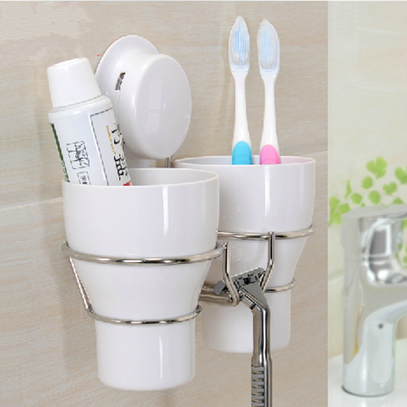 high quality wall toothbrush holder set with 2 tooth brush mug white plastic storage cup decorative