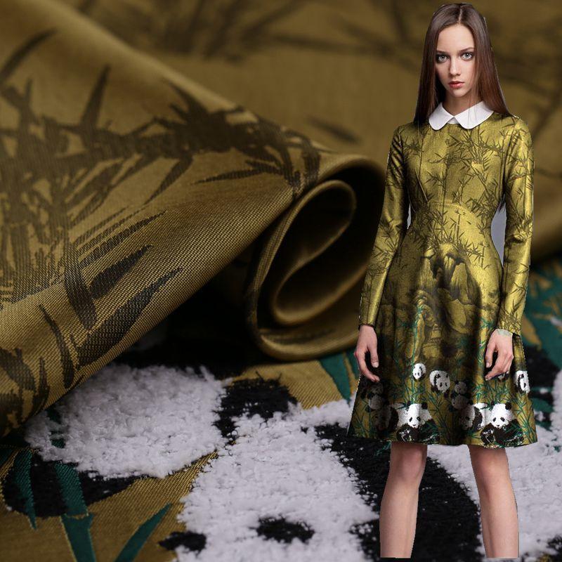 Panda yellow three dimensional plush jacquard clothing fabric cheongsam dress fabric wide jacquard fabric free shipping