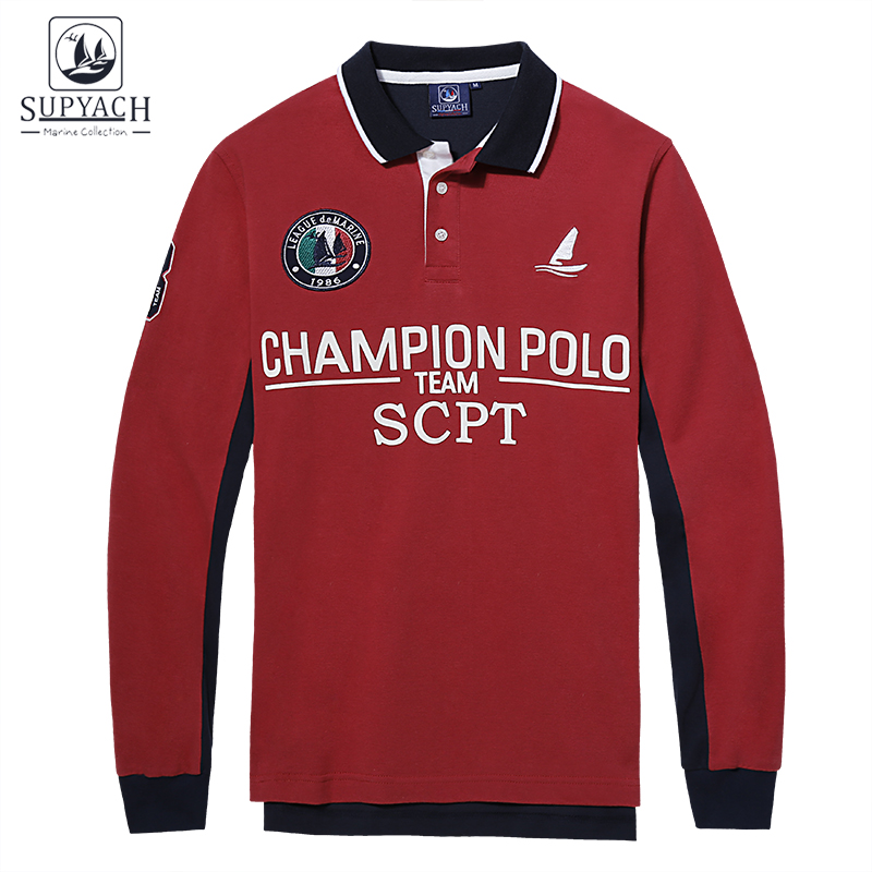 Supyach high quality tops tees ocean style 3d embroidery for High quality embroidered polo shirts