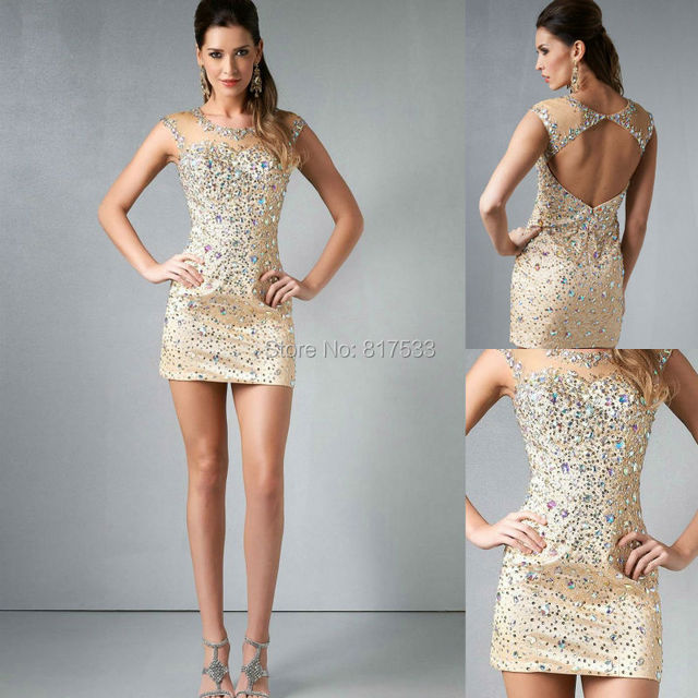 2014 New Lovely Slim Fit Cocktail Dress Nude Gold Sheer Cut Out Cap ...