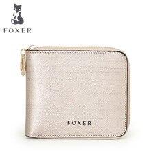 FOXER Famous Brand Women's Split Leather Wallet Luxury Purse For womenFree shipping