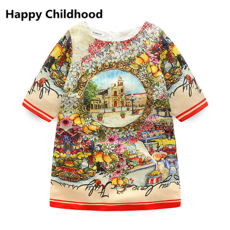 2016 Fashion Brand Spring Vintage Print Girls Dress 1pc half sleeve girls clothes Elegant Princess Dress