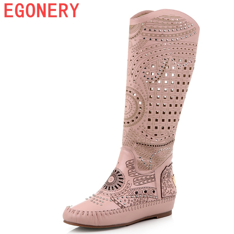 EGONERY shoes 2016 new heel sandals woman fashion summer boots soft genuine leather round toe knee high hollow boots revit shoes цены онлайн