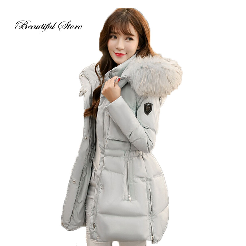 2017 Winter down coat fashion women slim long sleeve hooded real raccoon fur collar outerwear female