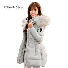 2017 Winter down coat fashion women slim long sleeve hooded real raccoon fur collar outerwear female warm white duck down jacket