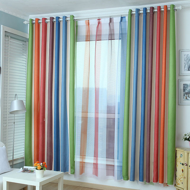 colorful striped fashion high quality curtains for bedroom blackout