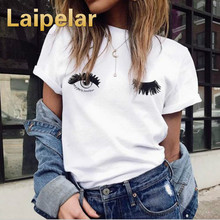 Laipelar T shirts Women 2018 Summer Causal Short Sleeve T shirts Cotton Women White Round Neck Wink Eyes Print Cute Tee