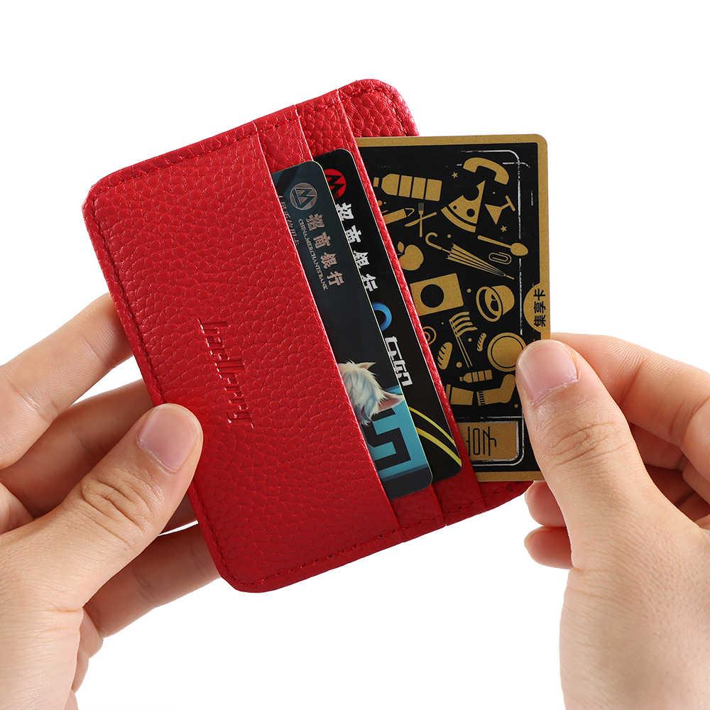 Mode hommes en cuir ID portefeuille porte-cartes de crédit porte-monnaie affaires mince argent poche Case multi-carte position porte-carte