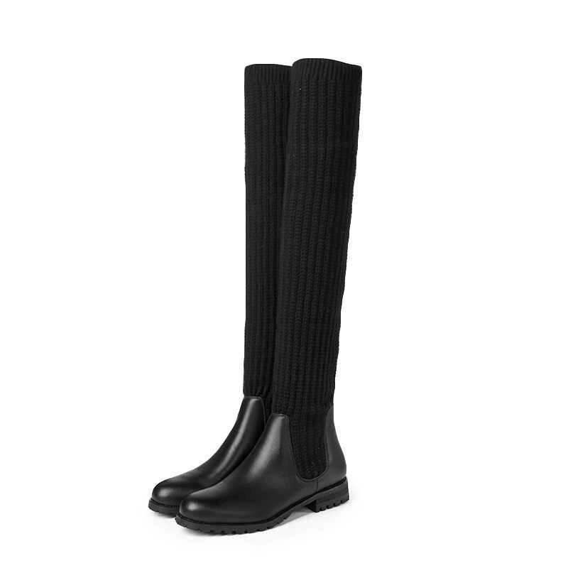 VANKARING kadın botları yeni 2019 İlkbahar sonbahar düşük topuklu yuvarlak ayak ayakkabı kadın siyah rahat diz üzerinde yüksek çizmeler ayakkabı kadın