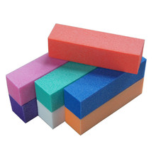 New 2 pieces Random Color Sponge Sandpaper Nail File High Elasticity Rectangle Art Polishing Manicure Tool