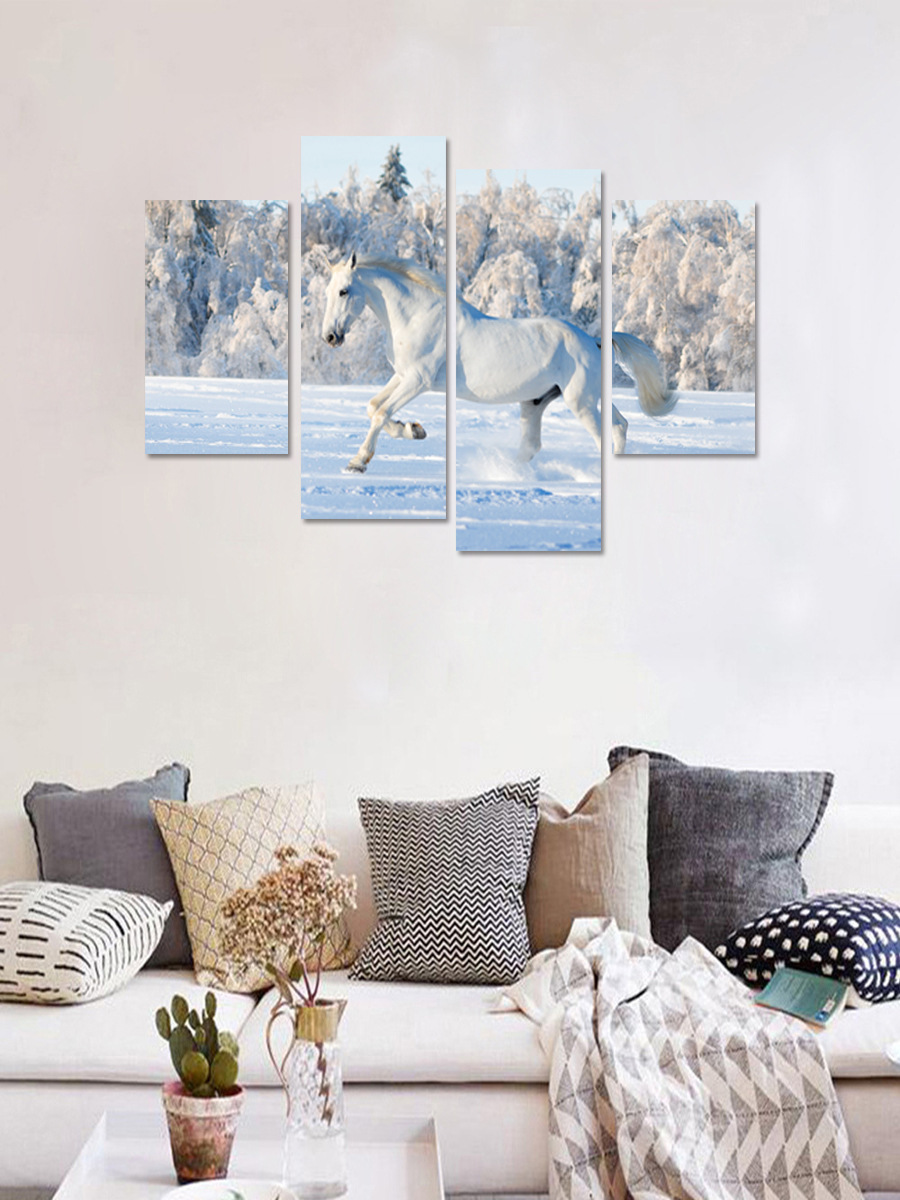 Creative 3D DIY 5pcs/set white Horse Galloping Combination Animal Wall Stickers Living Room Poster Self-adhesive Mural Decal(China)