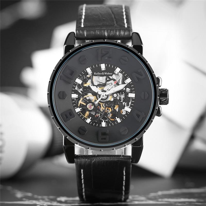 Keller & Weber Men Military Business Black Blue Unique Concave Automatic Mechanical Wristwatch Genuine Leather Band Outdoor Gift keller