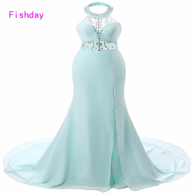 Fishday Long Halter Mermaid Elegant Turquoise Luxury Formal Party Prom dresses Summer For Women Gowns Abendkleider Party B30