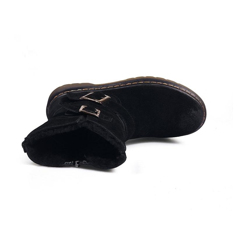 Cow Suede Women Snow Boots Winter Warm Fur Plush Woman Mid-calf Boots Buckle Platform Ladies Shoes Non-slip ZIpper Black Shoes
