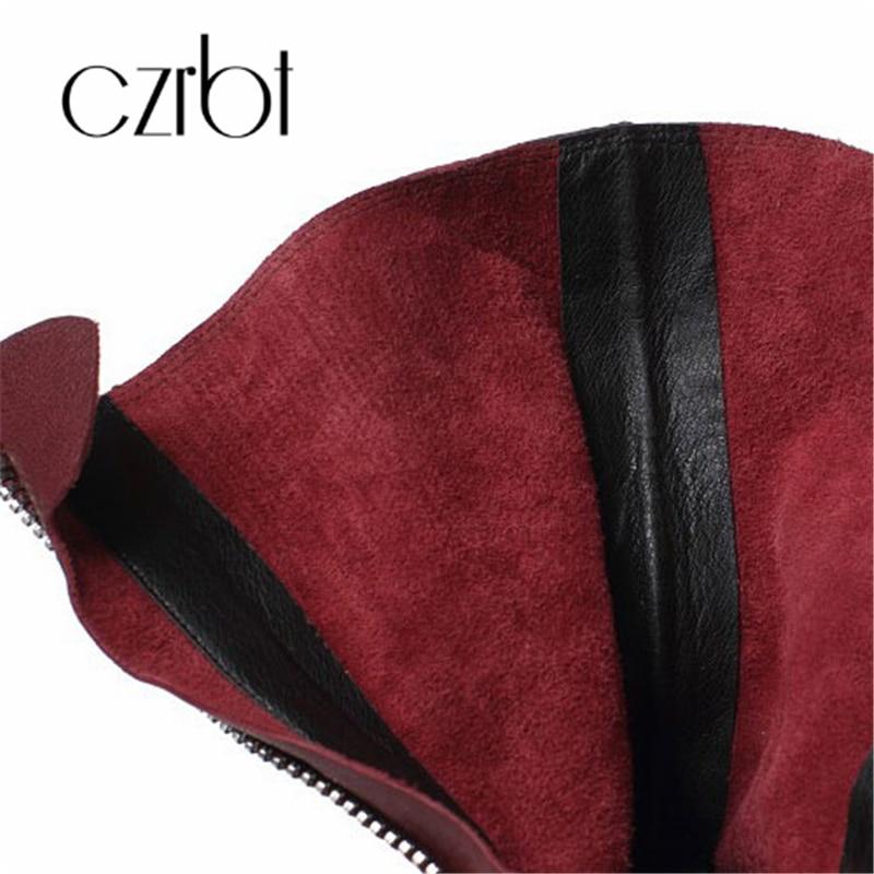 Rouge Chelsea Vintage Femmes lavande De ardoisé Mi Chunky En Bottes Noir Cuir Zipper Casual baril Rouge Volants rose Et vin Chaussures Robe rose 2018 xqY6Sw1I