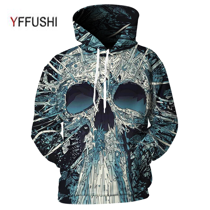 YFFUSHI 2018 Brand New 3d Hoodies New Hip Hop Young Men Hooded Sweatshirts Summer Skull 3d Print Men Hoodies Plus Size 5XL