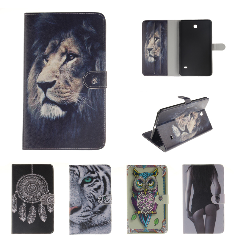 Painted PU Leather Flip Case for coque Samsung Galaxy Tab 4 8.0 Case for Samsung Galaxy Tab 4 T330 T331 T335 Smart Case Cover