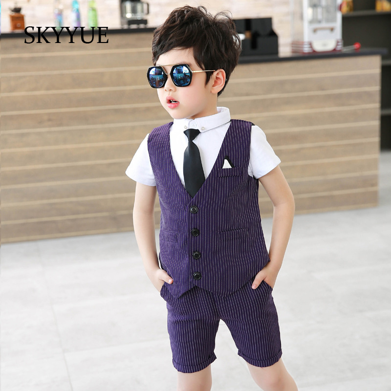 Fashion Baby Boys Suits Formal 2019 Summer Striped Single Breasted Wedding Wear Infant Suit Boy Blazers Cotton Children Clothing in Suits from Mother Kids