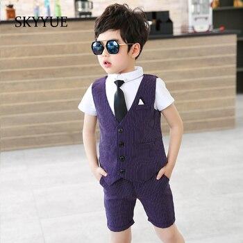 2b842466ee013 Moda Bebek Erkek Takım Elbise Resmi 2019 Yaz Çizgili Tek Göğüslü düğün  kıyafeti Bebek Takım Elbise Erkek Blazers Pamuk Çocuk Giyim