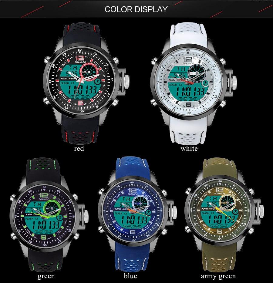 IsMyStore: BOAMIGO Top Brand Men Sport Watches multifunction LED digital analog quartz white Military wristwatches