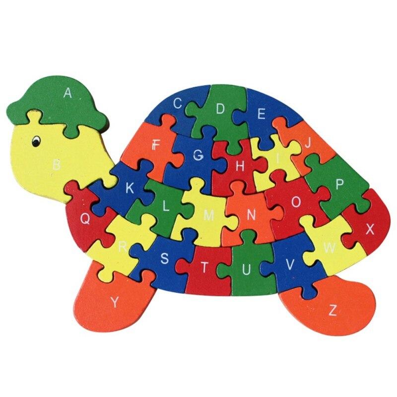 26 шт. 26 букв головоломки для детей буквенно-цифровой распознавания животных черепаха деревянные пазлы Дети Развивающие игрушки Новый