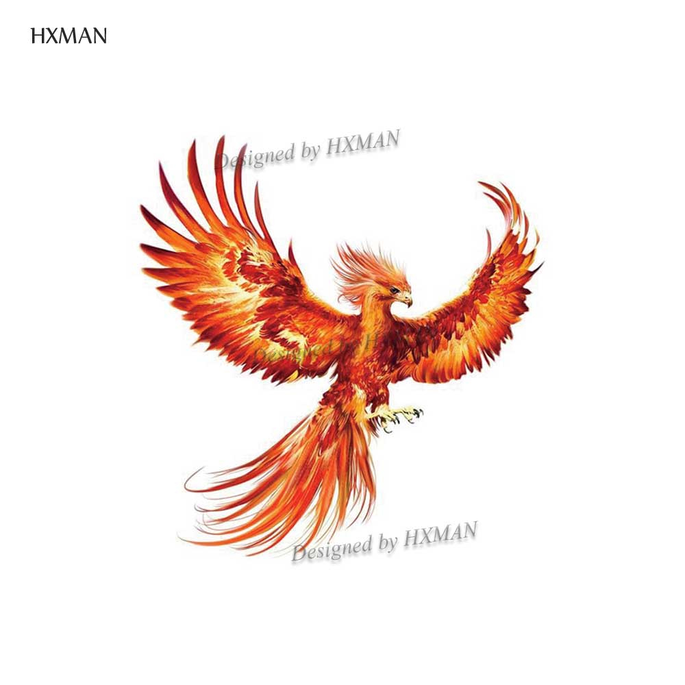 HXMAN Phoenix Watercolor Temporary Tattoo Waterproof Women Fake Body Art 9.8X6cm Kids Hand Tattoos Original Design A-053
