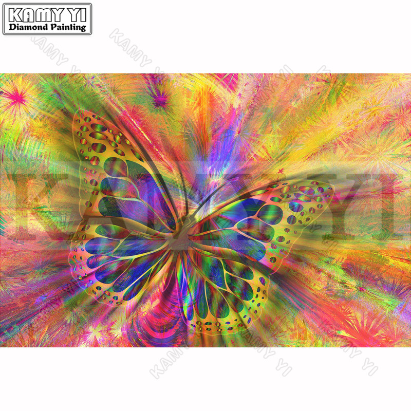 Diamante Bordado pintura 3D completo taladro diamante mosaico Cruz puntada mariposa colorida