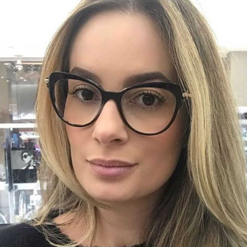 e3e0eac4ae2 QPeClou Vintage Cat Eye Glasses Frame Women Brand No Degree Clear Lens  Glasses Ladies Round Face