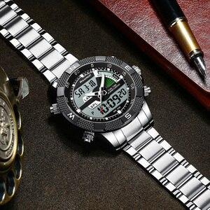 Image 5 - Moda Lüks Marka erkek saati Erkek Spor Izle LED kuvars saatler Paslanmaz Çelik Ordu Askeri Kol Saati Relogio Masculino