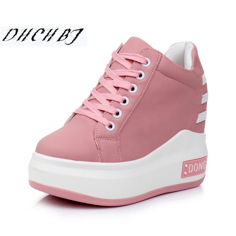 2019 New Women Platform Casual Shoes Mesh Breathable Wedge Heels Shoes 11CM Autumn Thick Sole Sneakers Woman Deportivas Mujer