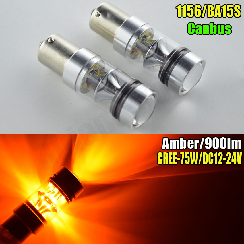 2pcs 75W 3000K Ultra Bright 900lm Amber Auto LED Back-up Revers Light 15SMD XBD Ba15s 1156 P21W Canbus Lamp Bulb 12V 24V ruiandsion 2x75w 900lm 15smd xbd chips red error free 1156 ba15s p21w led backup revers light canbus 12 24vdc