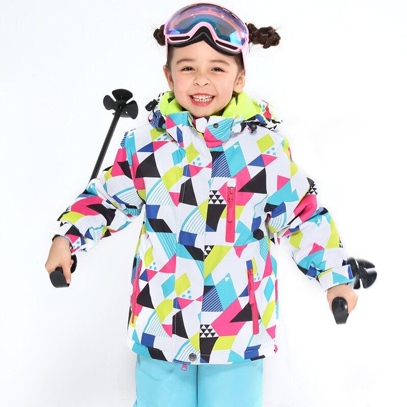 Enfants Ski costume enfants marques coupe-vent imperméable chaud filles et garçon neige ensemble pantalon hiver Ski et snowboard veste enfant - 5