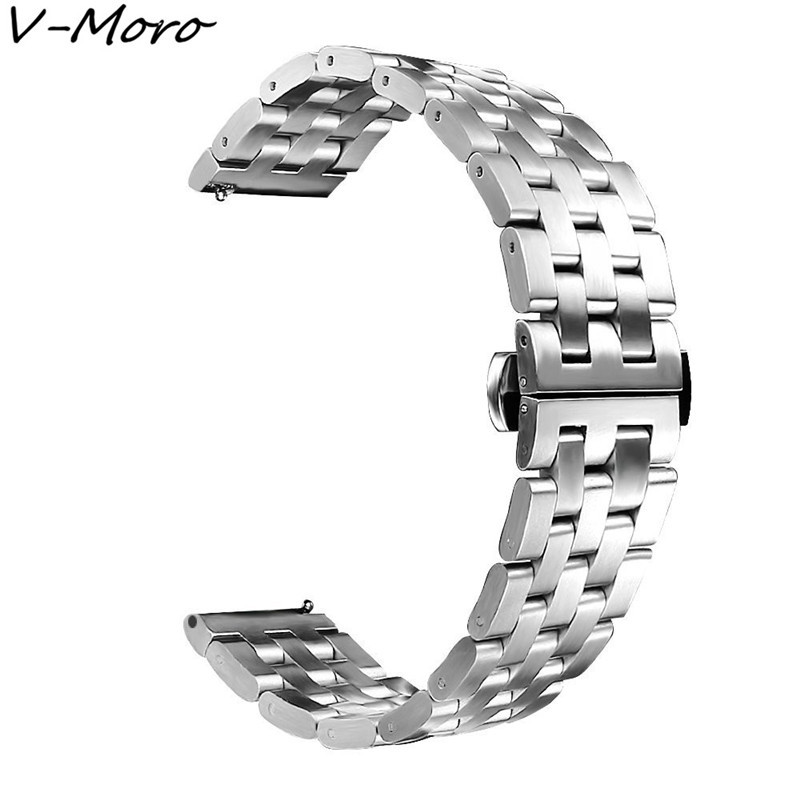 все цены на V-MORO 22mm Bands Gear S3 Frontier S3 Classic Band Stainless Steel Bracelet For Samsung Gear S3 Straps Butterfly Buckle 5 Beads онлайн