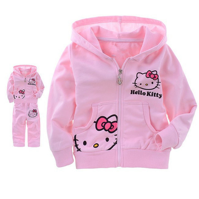 Retail summer Hello Kitty children clothing long sleeve T-shirt +pants children clothing sets baby christmas costumes