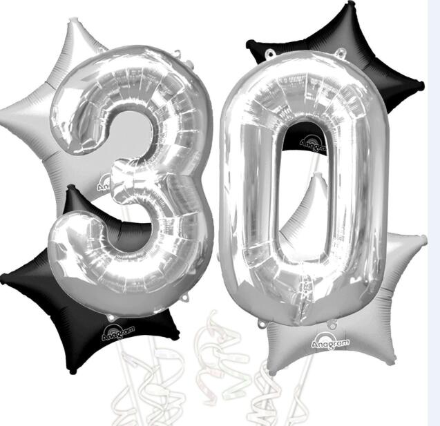 Online Shop 6pcs 40inch Silver Number 3 0 Foil Balloons 18inch Black Star 30th Birthday Party Helium Inflatable Balls