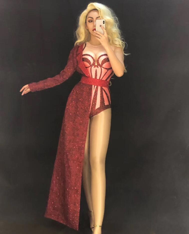 Shining Sexy Red Stretch Bodysuit Two Pieces Set Costume Stage Dance Wear Leotard Half Side Long Coat Performance Outfit YOUDU
