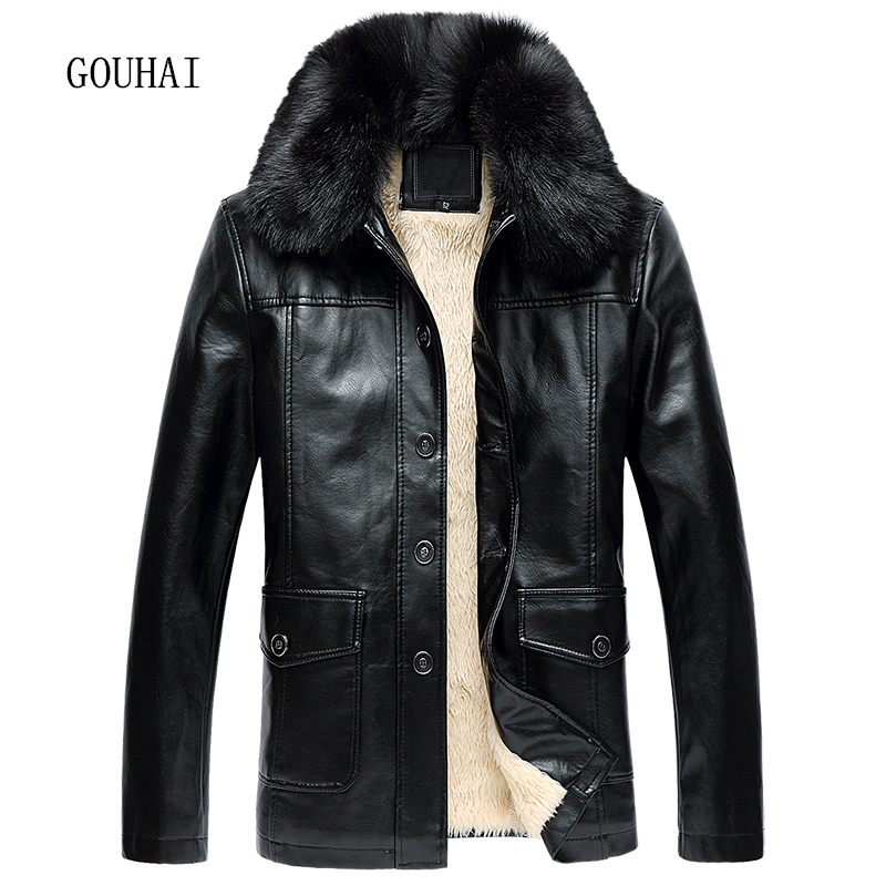 Fur Collar Winter Jacket Mens Leather Jacket 2017 New Plus Size Business Black Solid Fleece Soft Male Leather Jacket Man XL-5XL