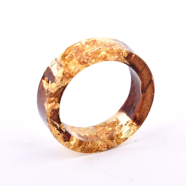 Handmade Flowers Wood Resin Ring3