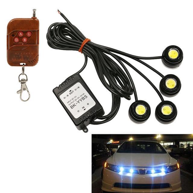 4 Eagle Eye White LED Lamp Wireless Remote Control Car Emergency ...