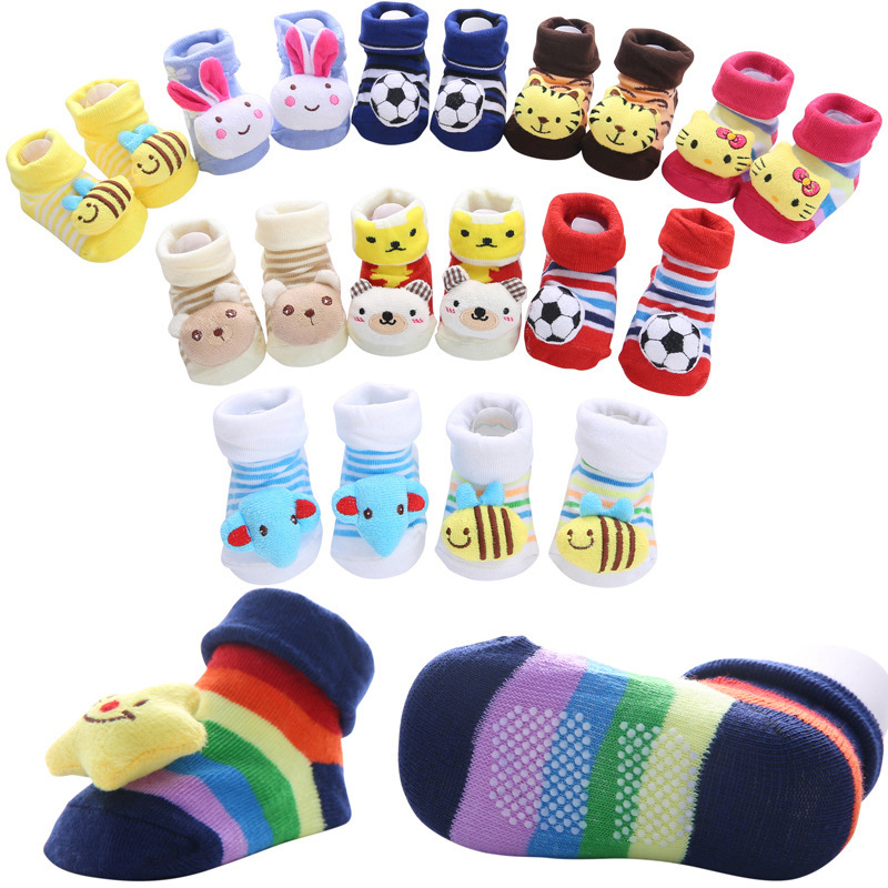 New Pure Cotton Cartoon Non-slip Baby Floor Socks Stripe Lovely Three-dimensional Doll Baby Learn To Walk Socks 30 Types Choose