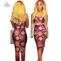 BRW 2017 Tela de la Impresión de la Cera de África Sistemas de La Falda Bazin Riche Plus tamaño 6xl 2 Unidades Traje Sexy Mujeres del Diseño de la Ropa Africana WY327