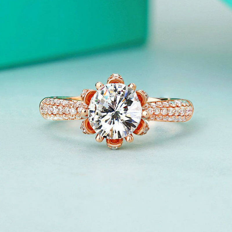 Image 2 - Real Charles Colvard Moissanite Engagement Ring For Women 1 Carat VS G Color Solid 14K 585 Rose Gold Simulated Diamond Accents    -