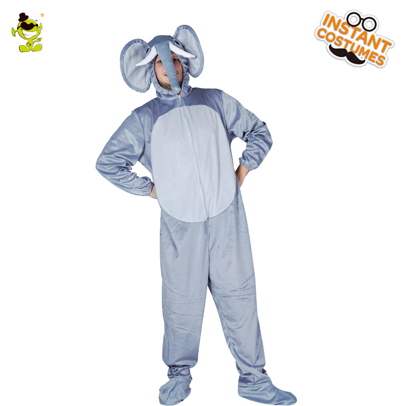New Arrival Adult Men's Elephant Pajama Cosplay Nightdress  Long Sleeve Animal Onesize  In Winter Cute Elephant Man Nightclothes