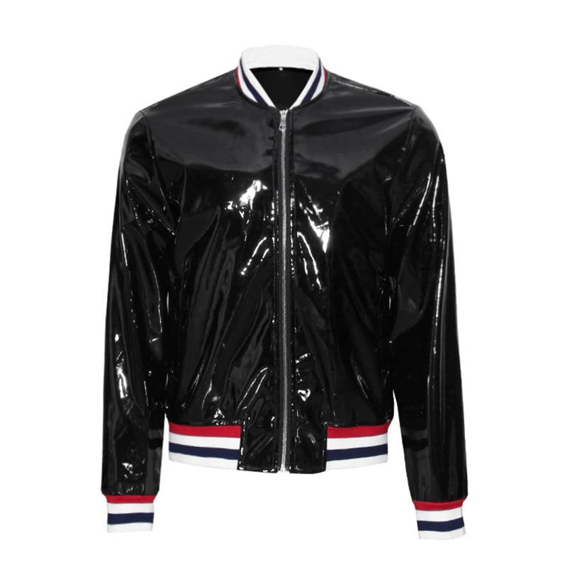 2017 shiny pu leather jacket mens black slim fit