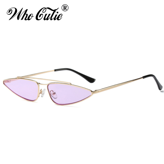394d5d19f26 WHO CUTIE 90s Slim Sharp Cat Eye Retro Sunglasses Women Brand Designer 2018  Vintage Pink Yellow Red Lens Sun Glasses Shades 560