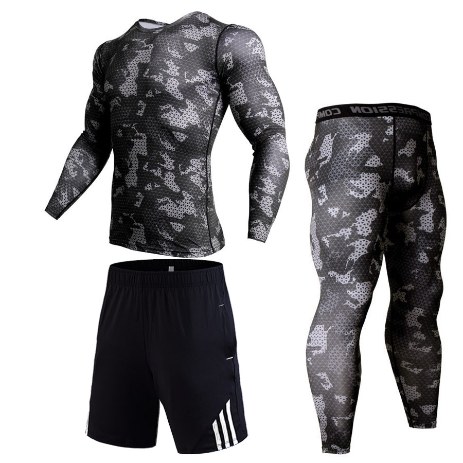 Mens Tracksuit Set 4XL Camouflage Thermal Underwear Fitness Compression MMA Rash Guard Male Sport Suit Winter New Jogging Suit