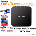 IPROTV 1 Año Europa Italia Francés Árabe IPTV 1100 Canales de TELEVISIÓN Canal plus S905X TX3 pro TV Box Quad Core Android 6.0