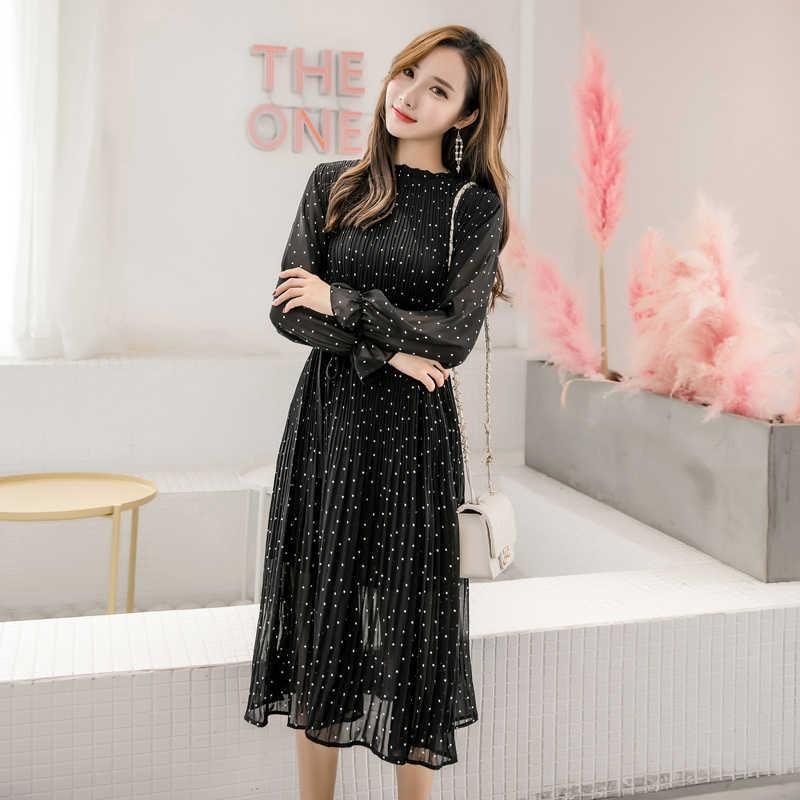 Демисезонный леди длинное шифоновое платье 2019 новый корейский модные женские туфли с длинными рукавами в горошек плиссированные платья черный Винтаж одежда