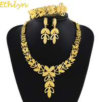 Ethlyn Leaves Shape Gold Color Bridal Jewelry Sets Romantic Women Gifts Party Charm Accessories New Trendy